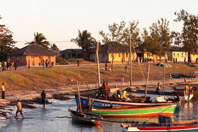Dhows at sunrise at Ilha de Mozambique, Mozambique.