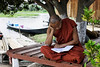 """A monk from the """"Jumping cat"""" monastery, Inle lake, Myanmar."""