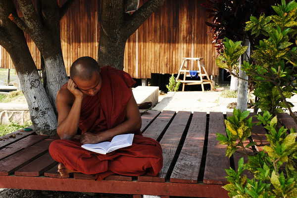 "A monk from the ""Jumping cat"" monastery, Inle lake, Myanmar."