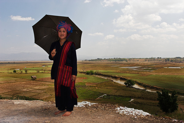 Woman with the traditional hat from Pa-O tribes, Myanmar.