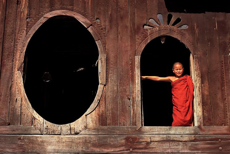 Wooden monastery, Nyaung Shwe, Myanmar.