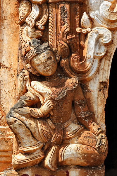 Detail from a buddhist temple at In Dein, Inle lake, Myanmar.