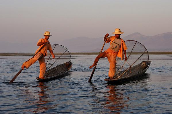 Dance on the lake, Intha fishermen, Inle lake, Myanmar.