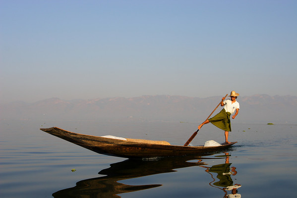 Traditions from Intha fishermen, Inle lake, Myanmar.