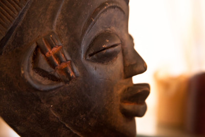 Detail from a wooden statue, Lagos, Nigeria.