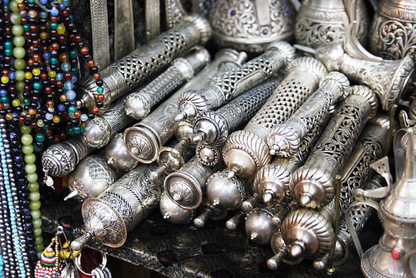 Silver objects from the Souq of Muscat, Oman Sultanate
