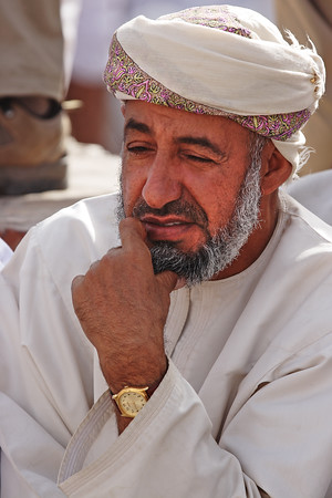 Omani from the Nizwa market close to the fortress, Sultanate of Oman.