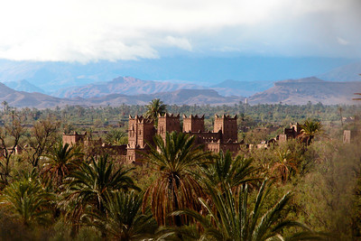 Ksar in the palm trees, Skoura, Morocco.