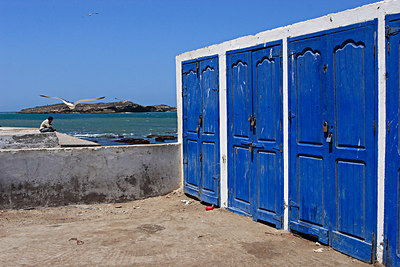 Fishermen lockers, harbour from Essaouira, Morocco.