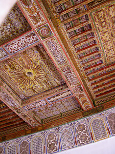 Traditional wooden carved ceiling, Morocco.
