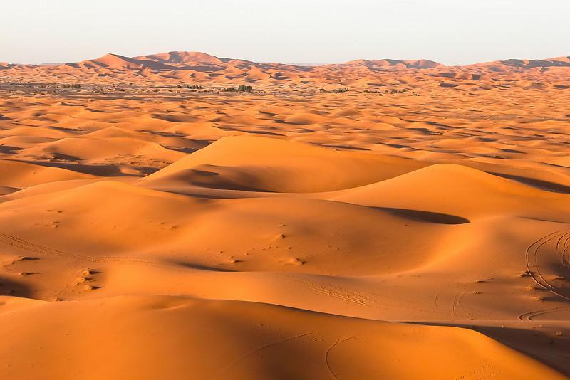 Desert dunes at sunset, Erfoud, Morocco.