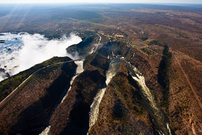 108m high Victoria Falls at rainy season, Livingston, Zambia.