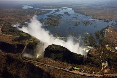 108m high Victoria Falls at rainy season, Livingston, Zambia.