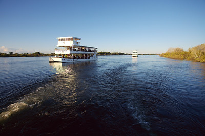 Cruise boat on the Zambezi river, Livingston, Zambia.