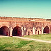 "March 1, 2012 -""Fort Morgan""<br /> <br /> The construction began 1819 and was completed 1834. The large brick fort serviced the Civil War, Spanish-American War and both world wars. It played a major role during the Battle of Mobile Bay (1864).<br /> <br /> Yesterday's photo of the barrel and downspout can be spotted in the detail of this photo."