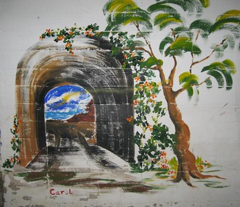 Crystal Cove Grade School Art displayed in pedestrian tunnel leading to the beach area.
