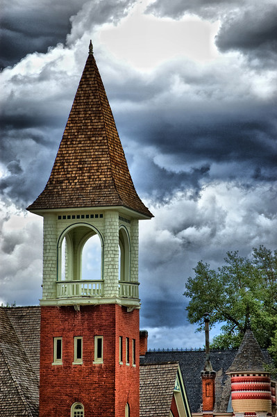 """""""Cloud City""""<br /> <br /> The Leadville, Colorado  Presbyterian Church was dedicated in 1889.<br /> <br /> The """"Cloud City"""" certainly provided me with many clouds to try different filter ideas.<br /> <br /> """"Leadville, Colorado, often called """"The Two Mile High City"""" and """"Cloud City,"""" was the highest incorporated city in the world at 10,430 feet. However, that title has now been replaced first by Alma, Colorado and then by Winter Park, Colorado. Located at the foot of two of Colorado's highest peaks - Mt. Elbert and Mt. Massive, Leadville is one of America's last remaining authentic mining towns.""""<br /> from<br /> <br /> <a href=""""http://www.legendsofamerica.com/CP-Leadville.html"""">http://www.legendsofamerica.com/CP-Leadville.html</a>"""
