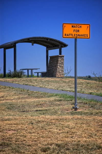 """Risky Rattlesnake Rest Stop""<br /> <br /> This was shot at a West Texas Rest Area. The whole complex is beautifully done. This photo is out of context of a very nice rest stop, but thought it was kind of fun."