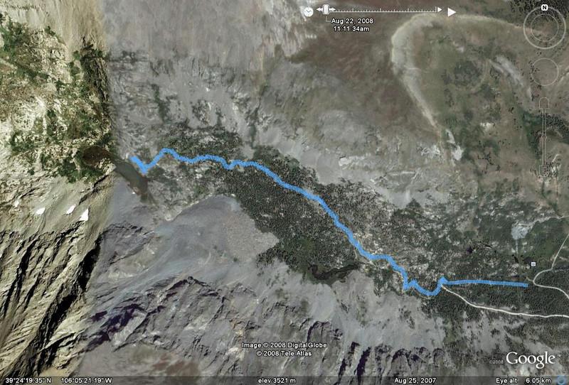 McCulloch Gulch (9823-11959 ft) 3.8 Mi round trip - GPS track in blue