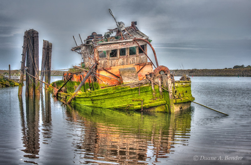 """Mary D. Hume""<br /> <br /> The steamer was built in Gold Beach in 1881.  In its long life it worked as a freighter, Arctic whaler, halibut fishing vessel and tugboat.  She holds the longest-working commercial vessel on the West Coast.  She sank in 1978."