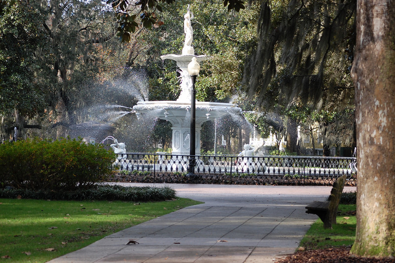 Forsyth Park Fountain - 1853, restored 1988<br /> A cold 40 degree January Day