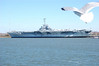 Seagull view of USS Yorktown on ferry to Ft. Sumter