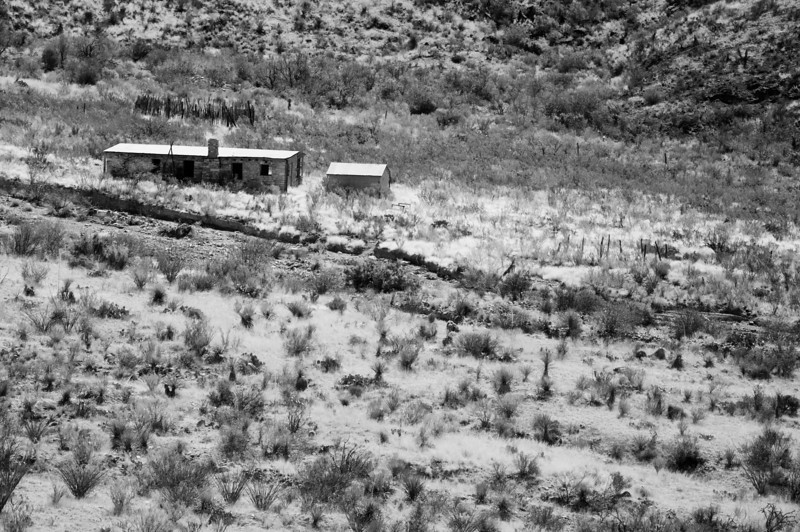 Shot from Big Bend National Park Blue Creek Ranch Overlook, which peers down at the old Homer Wilson Ranch house that was abandoned in 1945.