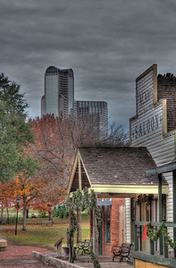 "December 16, 2011 - ""The Old And New Dallas""  Our photo ""walk about"" group shot the Dallas Heritage Village yesterday.  It was very overcast with intermittent heavy rain.  However, the magic of HDR provided some color."