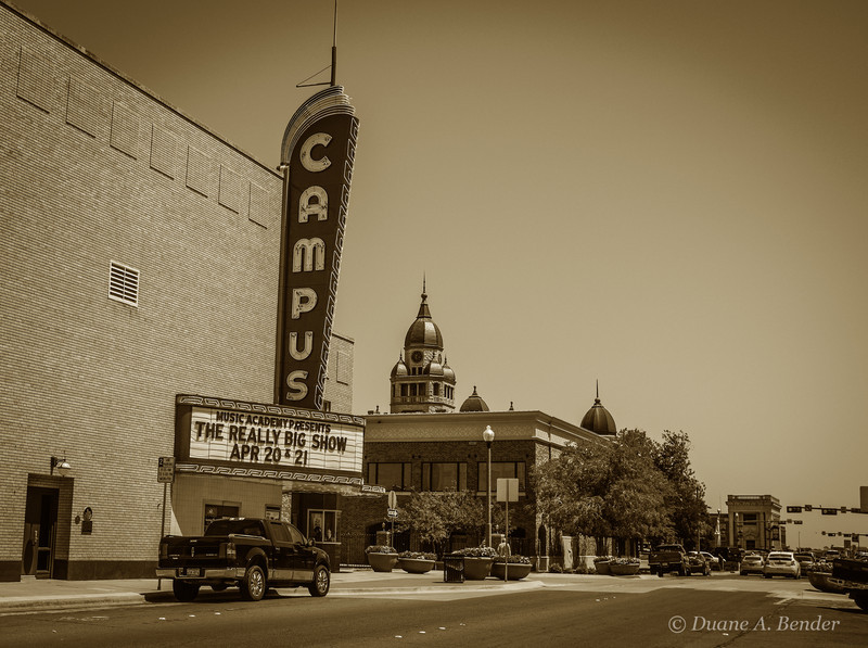 The Campus Theater was built in 1947 in the popular art deco style.