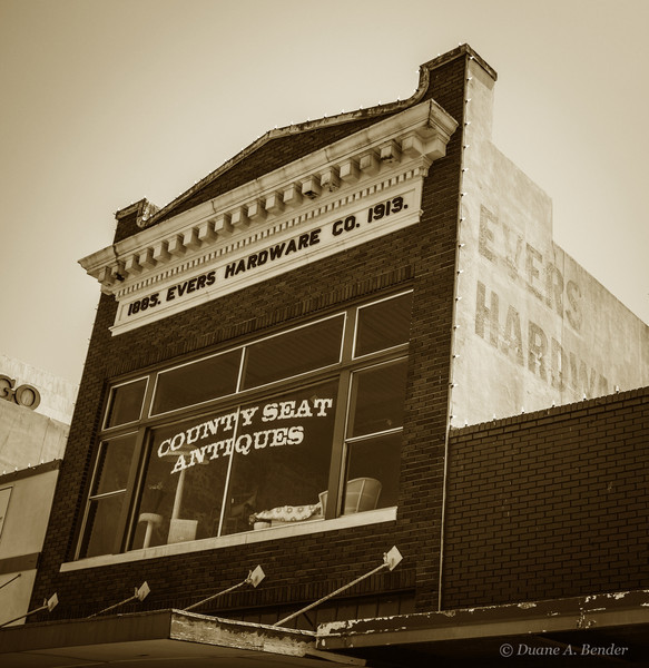 The Evers hardware store was built in 1913 on the same spot as the original store constructed in 1885.  The Evers family operated the store for 115 years until big box hardware stores became popular.