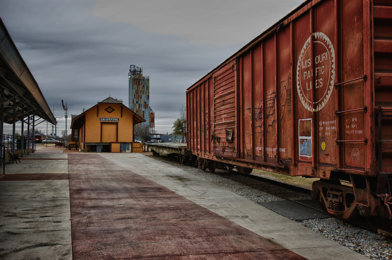 """January 18, 2011 - """"Hints Of Modern Times""""<br /> <br /> Here's a Grapevine Railroad Station image that was shot last week during our Main Street photo walk.  As you can see it was a cold and gray day.  I was wearing gloves :)<br /> <br /> I opened a gallery with more of the images taken Friday at the train station.<br /> <br /> <a href=""""http://www.dakotacowboyphotography.com/Photography/Grapevine-Train-Station/15468939_AUdWg#1158390419_QXziQ"""">http://www.dakotacowboyphotography.com/Photography/Grapevine-Train-Station/15468939_AUdWg#1158390419_QXziQ</a>"""