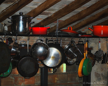 "January 4, 2011 - ""Pots And Pans""  This was shot in a restored farmhouse kitchen in Italy.  I am updating the processing on a few images captured in Italy a few years ago.  I recently completed a series titled ""A Rainy Day In Italy"".   Potentially this next series will be titled ""A Cloudy Day In Italy"" for lack of more originality.  My goal is to have photos that are printable and suitable for display at my home.  I am very happy with the prints that I have matted to date."