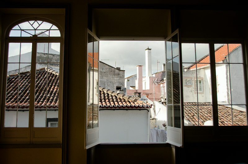 Across the roof tops in Ponta Delgada from our B&B