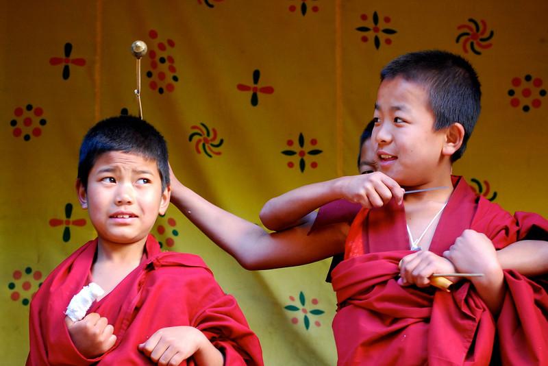Naughty monks in Paro Dzong