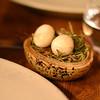 Hay smoked quail's eggs.  Yummy