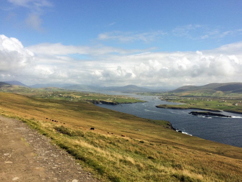 View inland from Valentia Island.  The little village is Portmagee