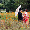 Japanese couple doing their wedding photos, usually years after they get married posing in the central gardens