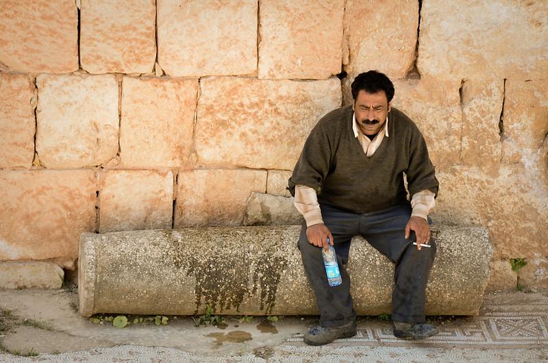 Caretaker for the mosaics at Jerash.  Looks like a tough job.