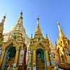 Pagodas of Shwedagon Temple.  It's huge & covered in gold. Serious bling