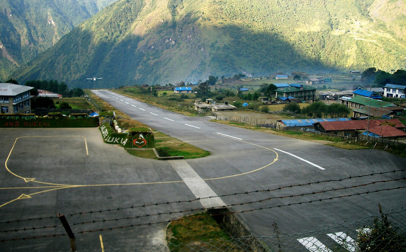 Arriving at Luckla - where the EBC trek starts.  The scariest airport in the world