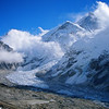 Khumbu Icefall & glacier coming from the West Cym of Everest.  Base Camp is where the glacier turns right down the valley