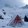 Camping at Lobuche & the snow came.  It was warmer with the snow on the tent. 5,000m asl