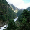 The Dudh Kosi or Milk River roars down from Everest & provides the backdrop for the first 2 days walking