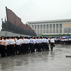 Worshippers arrive at the Mansudae Grand Monument to pay homage to the Great Leader, Marshall Kim Il-Sung, Eternal President