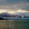 Glacier in the midnight sun in north Spitsbergen