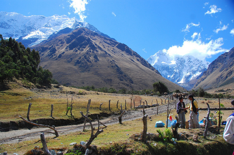 We started our trek in this pretty meadow.  Salkantay is the further away snow mountain