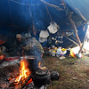 Inside the yurta.  It was dirty and smoky - but the fire keeps everything warm
