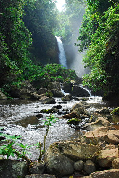 Beautiful waterfall at Marangu village - the beginning of the famous coca cola route on to Kili