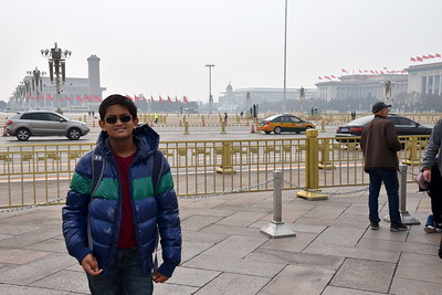 Right outside the musuem is the Tiananmen Square. Due to a major political conference we weren't able to go into the square, but could pass by it