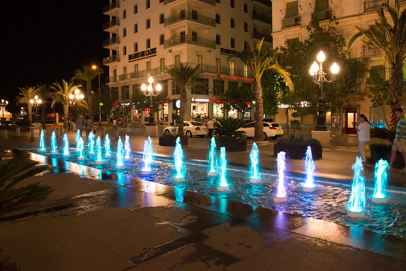 Cadiz street fountains at night